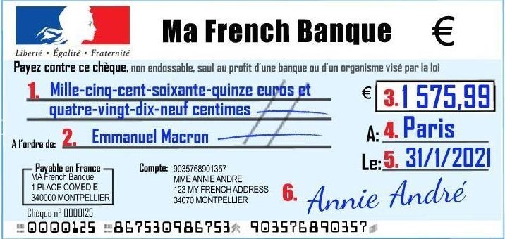 French Bank Account & Writing a French Cheque 101